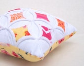 25% off Pincushion Miniature Pillow Orange Pink Yellow Cathedral Window - 5.5 Inches Square