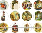 "1"" Alice in Wonderland Illustrations Flatbacks, Pins or Magnets 12 Ct. Set A"