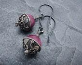 Valentine earrings, ruby earrings, Valentine earrings, Ruby gift, July birthstone earrings, gift for her, geometric earrings, ruby jewelry
