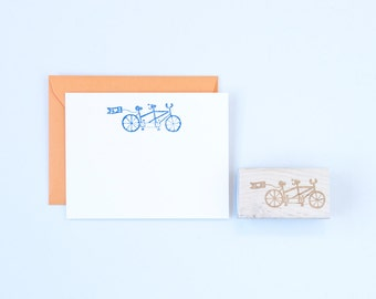 Tandem Bicycle Rubber Stamp With Personalized Flag Wedding and Love