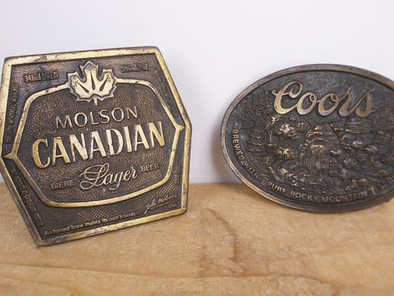 belt buckles with bottle openers vintage 1970s molson coors. Black Bedroom Furniture Sets. Home Design Ideas