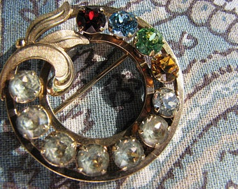 Vintage Van Dell Circle Pin Mother's Pin Rhinestones Scarf Brooch