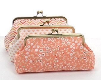 Peach White Bridesmaid Clutches / Peach Wedding Clutches / Wedding Gift / Bridal Clutch Set - You choose the FABRICS