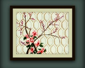 Pink Azalea Art Print with Cream Background and Moroccan Tile Pattern....Contemporary Modern Art Print by HD Greer