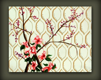 Pink Azalea Painting with Cream Background and Moroccan Tile Pattern....Contemporary Modern Art Painting by HD Greer