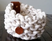 Natural Organic Knit Basket/Bowl with Leather