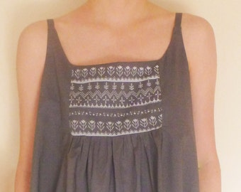 Sleeveless Smock Dress Grey Cotton Voile   handprinted lace embroidery look