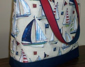 Peggy Tote - Sailboats with Navy Canvas