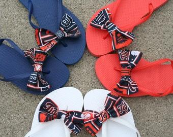 Detroit Tigers Baseball Flip Flops Sandals Womens custom handmade to your shoe size
