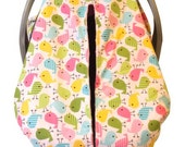 Unique Fitted Carseat canopy Cute Birds with pink Dimple Dot Minky.