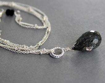 Black Tourmalinated Quartz Double Chain Necklace, Black Gemstone Drop Pendant
