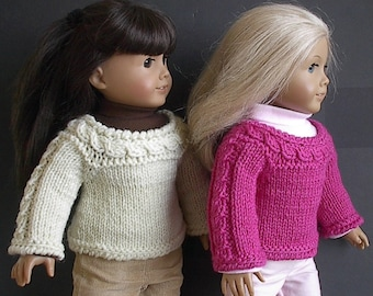 "Handknit Pullover Wool Sweater with Cabled Yoke - Made to Fit the American Girl and Other 18"" Dolls - You Select Color"