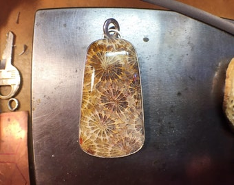 Fossilized coral and sterling silver pendant