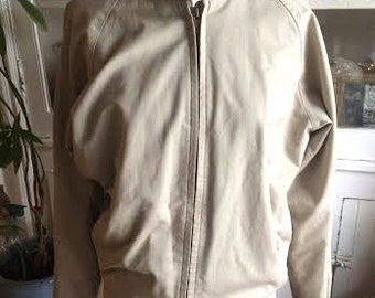 Vintage men's 1980's beige colored light weight boho jacket. plaid lined. size SMALL