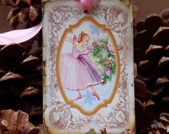Cottage Style Christmas Ballerina Gift Tags