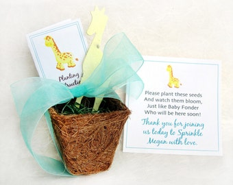 25 Giraffe Flower Pot Baby Shower Favors - Flower Seed Paper Giraffes - Zoo Baby Shower Favors - Pale Yellow Aqua and more