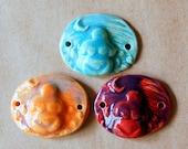 3 Handmade Ceramic Beads - Large Ceramic Bracelet Beads - Earth Mother large cuff beads