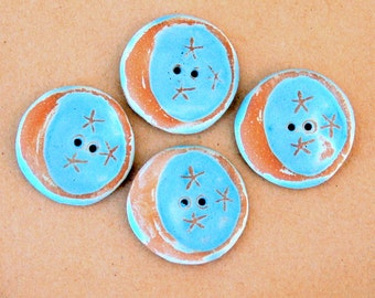 4 Handmade Ceramic Buttons - Moon Buttons -  Light Rustic Sky Blue Buttons eith Brown Stoneware