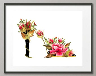 Art Print Red Roses Flower Shoes Stiletto Fashion Colorful Watercolor Painting Abstract Modern Elena