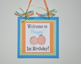 Pumpkin Door Sign. Pumpkin Party. Door Sign. Welcome Sign. Our little pumpkin. Harvest Party. Fall. Orange. Brown. Green. Blue