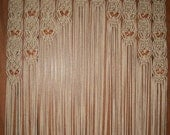 Wood Beaded Arch  Door Decor Curtain Made in Macrame With Tie-Backs