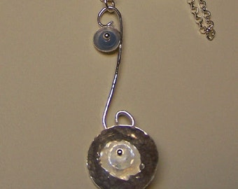 OOAK Sterling Silver Moonstone & Aquamarine LONG Necklace from Sapphireskies