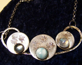 Sapphireskies Designs Sterling Stamped Dandelion Disc Necklace Larimar Blue Topaz and Rainbow Moonstone