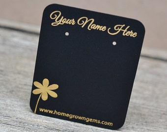 Black Custom Earring Cards - Metallic Silver Gold - Flower Bird Shell Heart Floral
