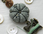 Sewing Necklace with a Tiny Pincushion and Thread Winder, Sage Green