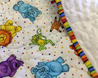 Minky Animal baby quilt set with matching burp cloths