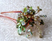 Greenery Vintage Jewelry Hairpiece Rhinestone Fruit Salad Crystal Art Glass Hair Comb Yellow Green Aurora Borealis Jeweled Fork Wedding Kale