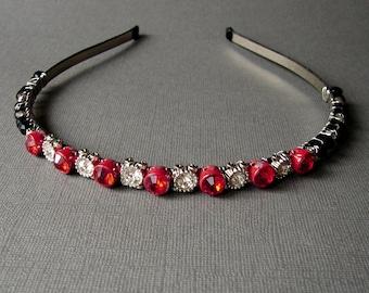 SAMPLE SALE Red Rhinestone Black Crystal Jeweled Headband Vintage Jewelry Hairpiece Renaissance Costume Accessory Chic Reign Wedding Reduced