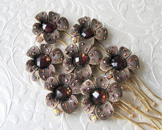 Autumn Wedding Bridesmaid Hairpins Bronze Brown Rhinestone Hair Comb Amber Hairpiece Aurora Borealis Bohemian Chic Boho Accessories Gold