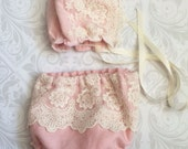Dainty Baby Collection - Newborn Lace Bonnet and Diaper Cover, Pink Bonnet
