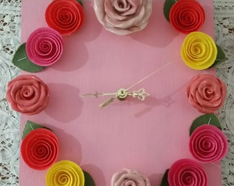 Rose Flower Clock with Ceramic and Fabric Roses Home Decor Bright Colors Housewarming Gift Kitchen Decor