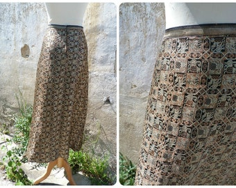 Vintage 1970/70s French glittered jacquard Hippie chic Bohem Festival Boho long skirt size L/XL