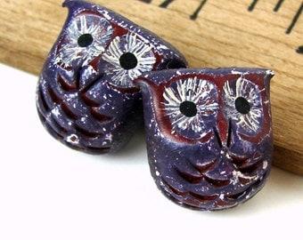 Handmade Rustic Polymer Clay Purple Owl Bead