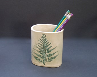 pencil holder with fern leaf impression . handmade pottery desk accessory . Christmas Gift