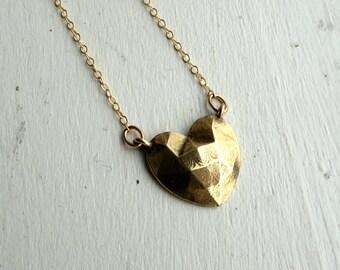 Small Geometric Brass Heart Pendant