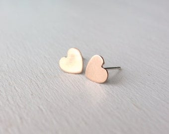 14k Rose Gold Heart Studs