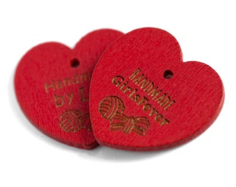 Heart shaped wooden hang tags 100 pcs Custom Personalised labels