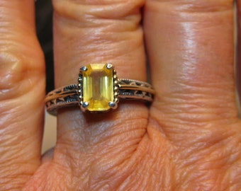 AWESOME Canary Yellow Sapphire Ring ... Sterling Silver and 14 kt Yellow Gold ...  Size  6 1/2 . e773