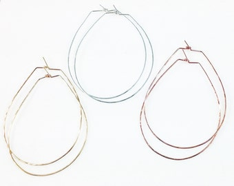 Large Round Teardrop Hammered Hoop Earrings - Sterling Silver, Gold, Rose Gold - Light and Delicate
