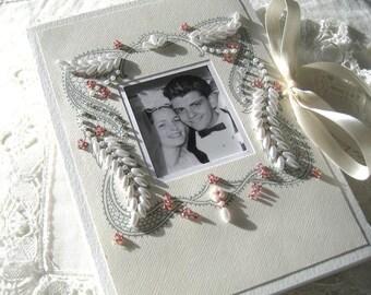 Wedding Photo Album Hand  Beaded Heirloom  Personalized for Weddings & Anniversaries 5x7 or 6 x 7.5 Brag Book Size