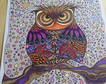 owl starry night coloring page digital download file