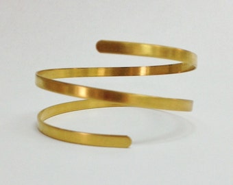 Spiral Bangle Bracelet Blank, Raw Brass Twisted Bangle, Great For Stamping or Soldering