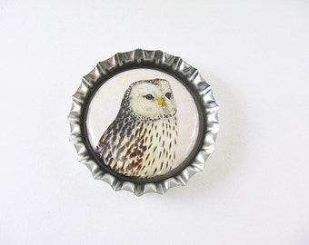 Owl Bottlecap Fridge Magnet Home & Living, Kitchen, Storage Brown