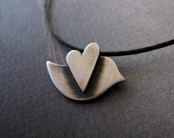 Love Bird Necklace modern peace dove in sterling silver holiday gift for her
