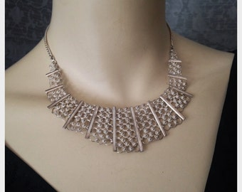 1950s, 1960s Indian, Turkish Sterling Silver Bib, Filigree Necklace, Delicate, Petite