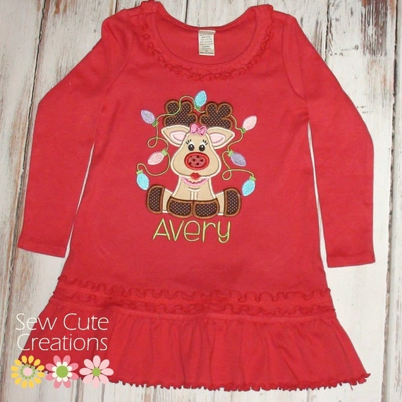 Reindeer dress girl christmas dress reindeer christmas dress girl